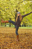 Its Autumn! 2. 20-25 years old beautiful sexy woman portrait having fun in natural autumn outdoors Royalty Free Stock Image