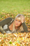 Its Autumn!. 20-25 years old beautiful sexy woman portrait in natural autumn outdoors Stock Images