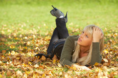 Its Autumn!. 20-25 years old beautiful sexy woman portrait in natural autumn outdoors Royalty Free Stock Photography