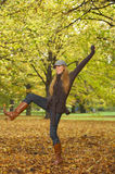 Its Autumn!. 20-25 years old beautiful sexy woman portrait playing in natural autumn outdoors Royalty Free Stock Photos