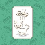Its a baby boy frame with cat. Vector illustration design Stock Images
