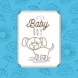 Its a baby boy frame with dog. Vector illustration design Stock Image