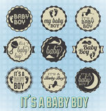 Its a Baby Boy Labels and Icons Stock Photos