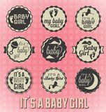 Its a Baby Girl Labels and Icons Royalty Free Stock Photo