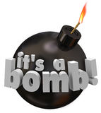 Its a Bomb Round Cannonball Words Explosion Bad Review Performan Stock Photo