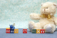 Its A Boy. An announcement congratulating the parent on their new baby boy Stock Photo
