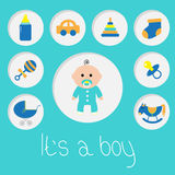 Its a boy. Baby boy shower card with bottle, horse, rattle, pacifier, sock, car toy, baby carriage, pyramid. Round icon set. Blue Royalty Free Stock Image