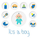 Its a boy. Baby boy shower card with bottle, horse, rattle, pacifier, sock, car toy, baby carriage, pyramid. Round icon set.  Royalty Free Stock Photography