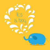 Its a boy. Baby shower card with elephant and fountain. Flat design Royalty Free Stock Photos