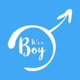 Its a boy - baby shower invitation template. Calligraphic text in the hand-drawn male gender sign. Baby born Stock Images