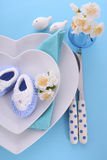 Its a Boy baby shower table place setting Royalty Free Stock Photography