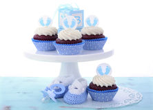 Its a Boy Blue Baby Shower Cupcakes Stock Photo