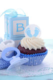 Its a Boy Blue Baby Shower Cupcakes Stock Images