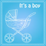 Its a boy card with baby carriage Stock Image
