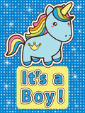 Its a boy card. Its a boy. Bright colourful baby shower invitation card with blue cute cartoon unicorn. Vector illustration Stock Images