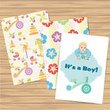 Its a boy card and seamless patterns set. Vector. Eps 10 royalty free illustration