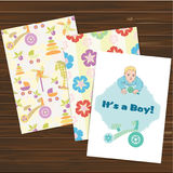 Its a boy card and seamless patterns set. Vector. Stock Images