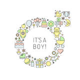 It's a boy! cute outline vector background with Mars symbol. Royalty Free Stock Photos