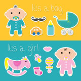 Its a boy girl banner set Baby shower card. With bottle, horse, rattle, pacifier, sock, car, mustaches, lips, carriage. Cute background. Flat design Vector Royalty Free Stock Photos