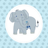 Its a boy,greeting card. Illustration with elephant.Greeting card for newborn royalty free illustration