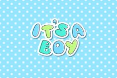 Its a boy. Lettering, cute hand drawn text Stock Images