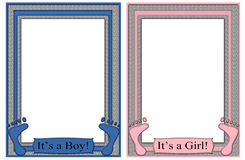 Its a Boy Its a Girl Frames Baby Feet Royalty Free Stock Photography