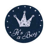Its a boy label. Baby announcement card. Stock Photos