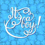 Its a boy lettering. Baby shower  invitation Stock Photo