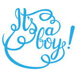 Its a boy lettering. Baby shower  invitation. For card and more Royalty Free Stock Photos