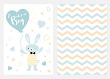 Its a boy Set of blue white yellow templates for invitations Rabbit balloon Zigzag background vector. Its a boy Set of blue, white and yellow templates for vector illustration