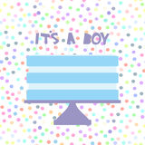 Its a boy. Sweet blue cake, blue cream, baby shower banner design, card template  Royalty Free Stock Photo