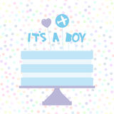 Its a boy. Sweet blue cake, blue cream, heart plane, baby shower banner design, card template, pastel colors on white polka dot ba Stock Photos