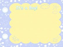 Its a boy template. Its a boy blue template insert your text or photos Royalty Free Stock Photo