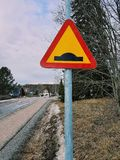 Its a bumpy road. Traffic sign in Sweden royalty free stock images