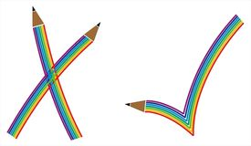 Check mark in rainbow pattern. Its check mark in rainbow and pencil pattern Royalty Free Stock Image