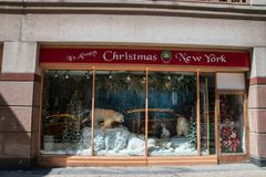 Its always Christmas New York store window. New York, NY - April 3, 2019: Its always Christmas New York store located in Manhattan celebrates and sells Christmas stock image