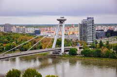 Bridge Slovenského národného povstania in Bratislava, Slovakia. Since its construction in 1972 the bridge was called Most SNP `Bridge of the Slovak royalty free stock photography