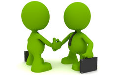 Its a Deal. Illustration of two businessmen shaking hands.  Part of my cute green man series Stock Photography