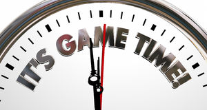 Its Game Time Clock Start Begin Playing Competition. 3d Illustration stock illustration