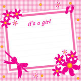 Its a girl. Illustration greeting card for  girl on a pink background Stock Images