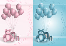 Its a girl boy. Vector set of blue or pink baby background with gifts and foot prints Royalty Free Stock Photography