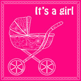 Its a girl card with baby carriage Stock Photo