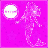 Its a girl card with mermaid Royalty Free Stock Photography