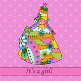 Its a girl card with princess. Vector its a girl card with colorful princess Stock Photos