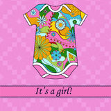 Its a girl card with ribbon and body Royalty Free Stock Photos