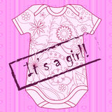 Its a girl card with stamp and body Royalty Free Stock Image