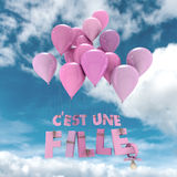 Its a girl in French. Baby girl announcement in French Royalty Free Stock Photography