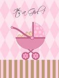 Its A Girl Pink Baby Pram Stock Image