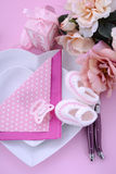 Its a Girl pink theme baby shower table setting Royalty Free Stock Photography