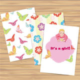Its a girl. Set of card and patterns. Vector. Eps 10 Royalty Free Illustration